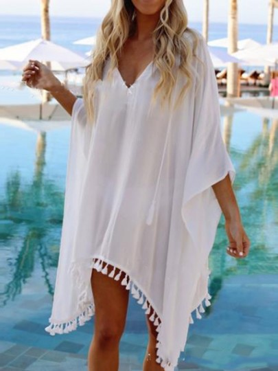 White Tassel Hoodies V-neck Beach Cover Up Sheer Vacation Ladies Mini Dress