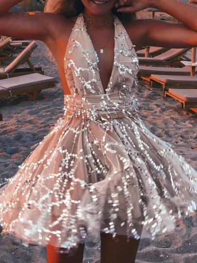 Apricot Patchwork Sequin Glitter Sparkly Deep V-neck Cross Back Prom Birthday Party Club Mini Dress