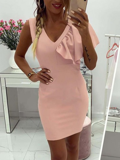 Pink Patchwork Lace Cascading Ruffle Bodycon Going out Mini Dress