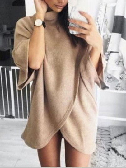 Apricot Irregular Bodycon Comfy Elbow Sleeve Ttrendy Going out Mini Dress