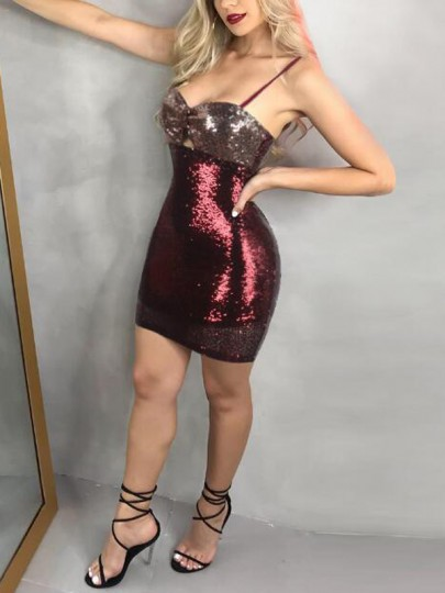 Red Patchwork Sequin Spaghetti Strap Sparkly Bodycon Banquet NYE Party Mini Dress