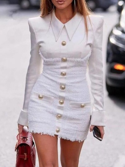 White Patchwork Single Breasted Turndown Collar Bodycon Banquet Party Mini Dress