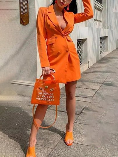 Neon Orange Pockets Double Breasted Tailored Collar V-neck Long Sleeve Work Blazer Suit Mini Dress