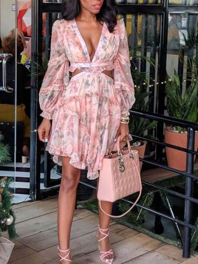 Pink Floral Pleated Cut Out Irregular Bohemian Party Mini Dress