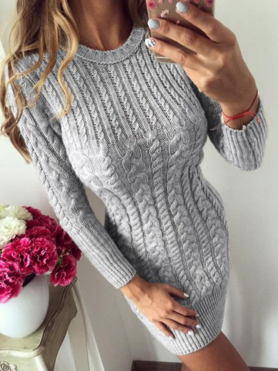 Mini robe col rond manches longues mode argent