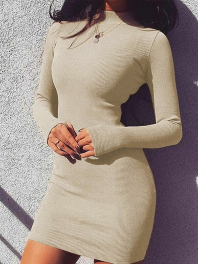Beige Band Collar Long Sleeve Bodycon Elegant Mini Dress