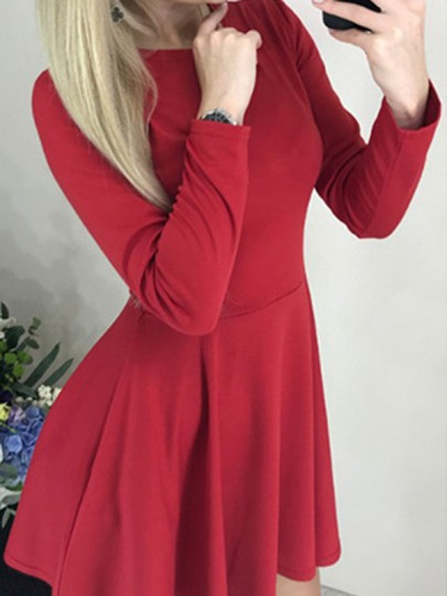 Red Draped Round Neck Long Sleeve A-Line Elegant Mini Dress