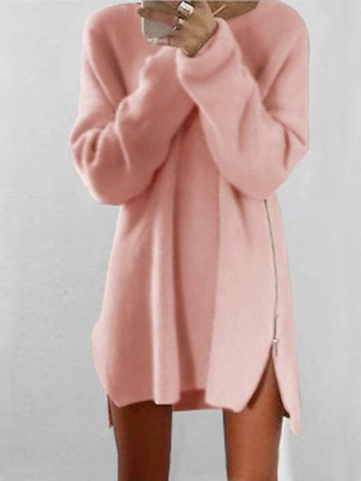 Pink Zipper Loose Round Neck Long Sleeve Cute Mini Dress