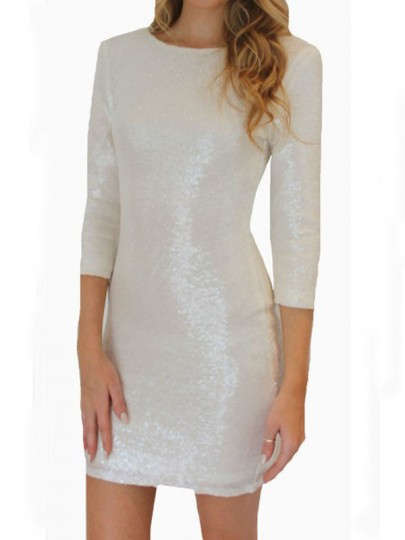 White Sequin Glitter Sparkly Backless Bodycon Elegant Mini Dress