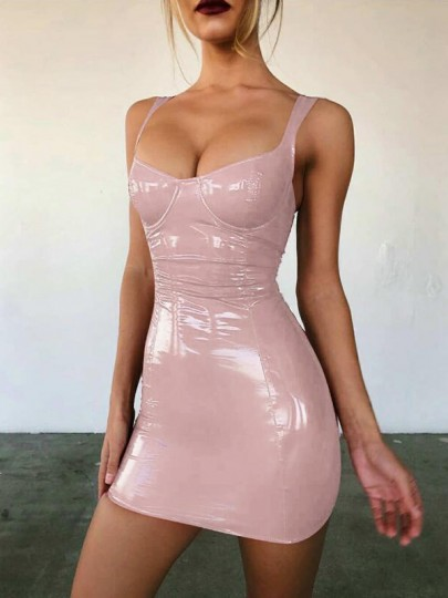 Light Pink PU Leather Square Neck Latex Vinly Bodycon Clubwear Party Mini Dress