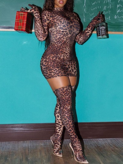 Brown Leopard Print Band Collar Long Sleeve Mini Dress Three Piece With Gloves And Socks