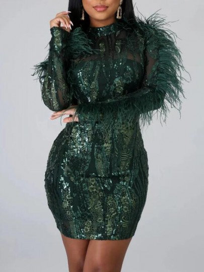 Green Geometric Sequin Feather Backless Sparkly Bodycon Banquet Party Maxi Dress