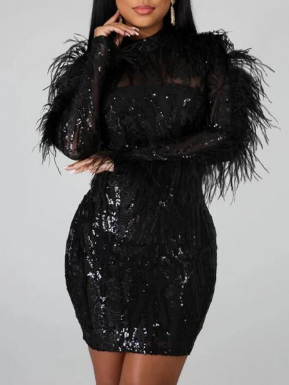 Black Geometric Sequin Feather Backless Sparkly Bodycon Banquet Party Maxi Dress