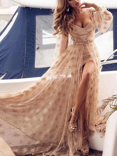 Apricot Polka Dot Lace 2-in-1 Long Sleeve Flowy Evening Party Maxi Dress