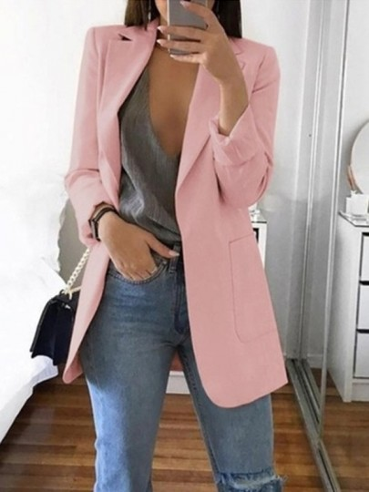Pink Pockets Tailored Collar Long Sleeve Plus Size Casual Work Blazer Suit