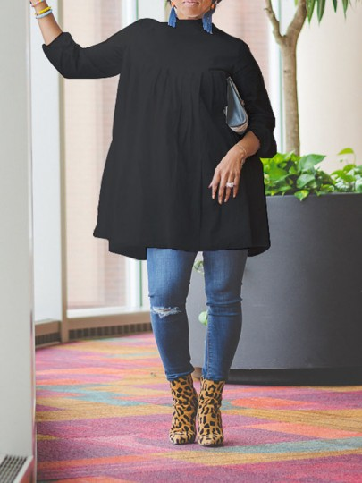 Black Pleated Long Sleeve Casual Blouse