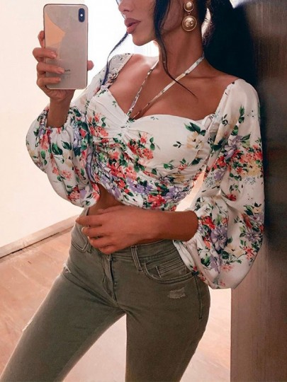 White Floral Bandeau Ruched Lace Up Lantern Sleeve Fashion Crop Wild Blouse