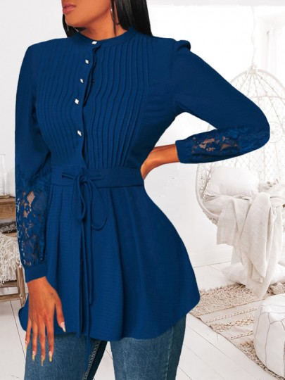 Blue Patchwork Lace Pleated Drawstring Long Sleeve Fashion Blouse