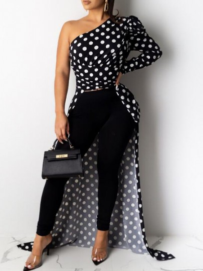 Black Polka Dot Irregular Asymmetric Shoulder High-low Backless Elegant Party Blouse