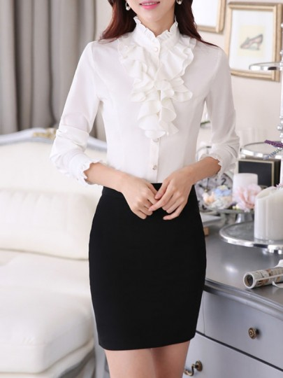 White Ruffle Plus Size Formal Cute Blouse