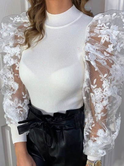 Weißes Patchwork Lace Puff Sleeve Party Bluse