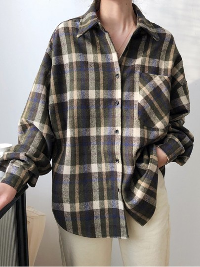 Green Plaid Buttons Pockets Turndown Collar Long Sleeve Fashion Blouse