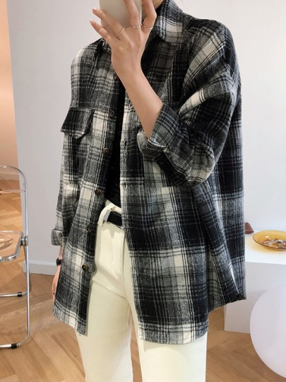 Black Plaid Buttons Pockets Turndown Collar Long Sleeve Fashion Blouse