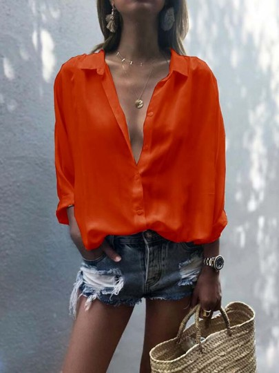 Orange Buttons Chiffon Bodycon Deep V-neck Long Sleeve Going out Blouse