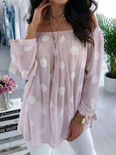 Pink Polka Dot Draped Chiffon Boat Neck Long Sleeve Going out Blouse