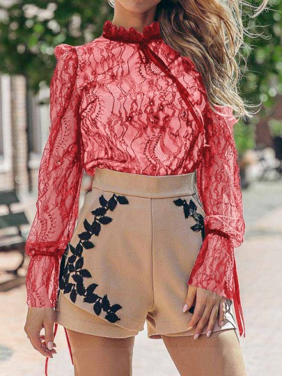 Red Patchwork Lace Bow Ruffle Band Collar Long Sleeve Blouse