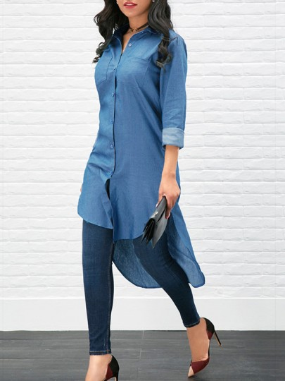Light Blue Single Breasted Pockets Long Sleeve High-low Casual Jeans Blouse