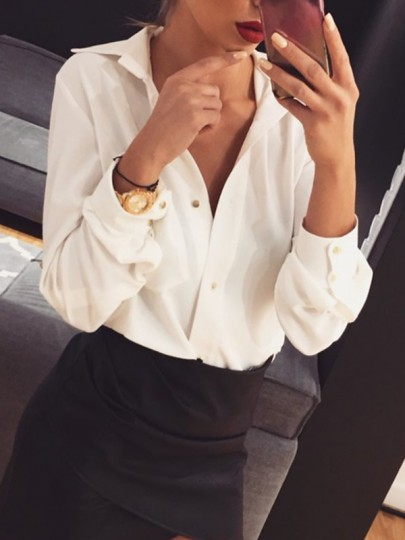 White Single Breasted V-neck Long Sleeve Fashion Casual Work Blouse