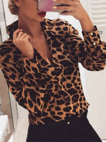 Brown Leopard Single Breasted V-neck Long Sleeve Fashion Blouse