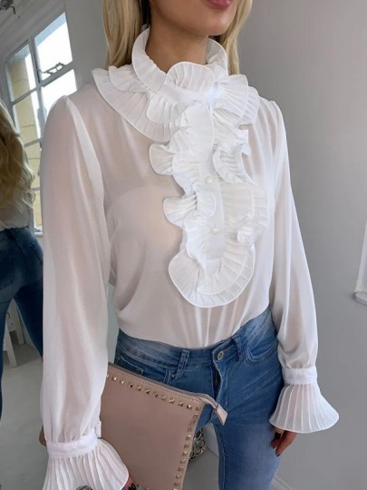 White Ruffle Single Breasted Long Sleeve Fashion Blouse