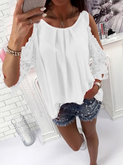 White Patchwork Lace Cut Out Round Neck Fashion Blouse