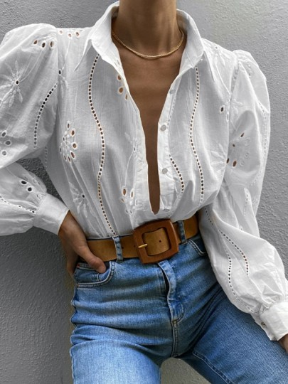 White Patchwork Embroidery Single Breasted V-neck Long Sleeve Blouse