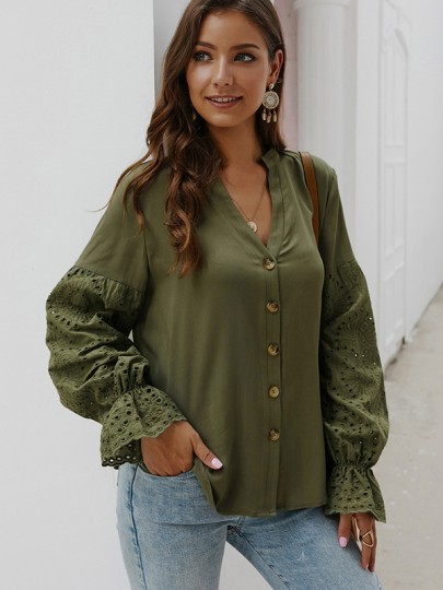 Army Green Patchwork Lace Buttons V-neck Long Sleeve Blouse