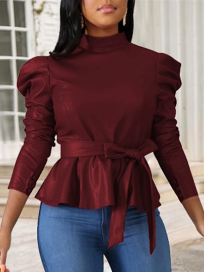 Burgundy Belt Zipper Band Collar Puff Long Sleeve Lace-up Peplum PU Leather Rubber 70S Work Blouse