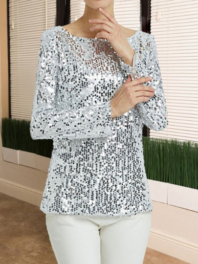 Silver Sequin Round Neck Long Sleeve Glitter Sparkly Birthday Party NYE Casual Blouse