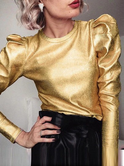 Metallic Golden Round Neck Long Sleeve Puff 70S Vintage Blouse