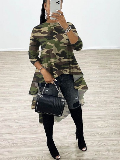 Green Camouflage Print Round Neck Long Sleeve High-low Homecoming Blouse