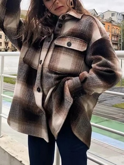 Brown Plaid Buttons Pockets Band Collar Long Sleeve Oversize Blouse Shirt Jacket Lumberjack Jacket