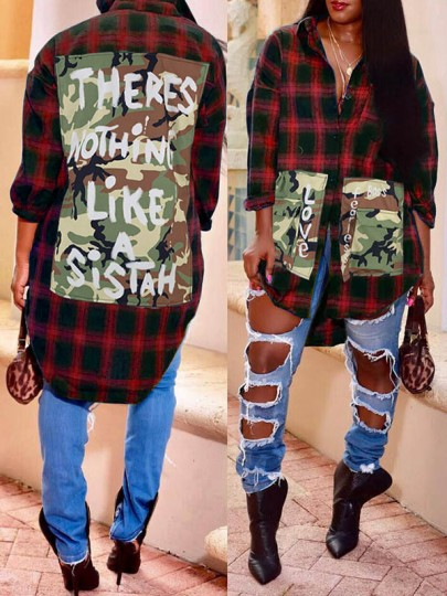 Red-Black Plaid And Letter Print Camouflage Pockets Turndown Collar Long Sleeve Blouse