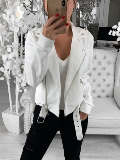 White Patchwork Zipper Belt Turndown Collar Fashion Outerwear