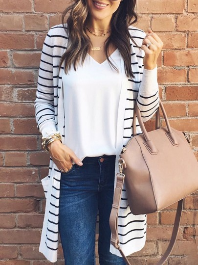 White Striped Pockets Others Long Sleeve Fashion Cardigan Sweater