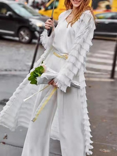 White Patchwork Tassel Long Sleeve Fashion Beach Cover Up Cardigan Dress Outerwears