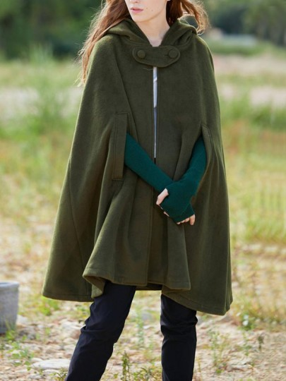 Army Green Buttons Hooded Sleeveless Fashion Cape Wool Coat