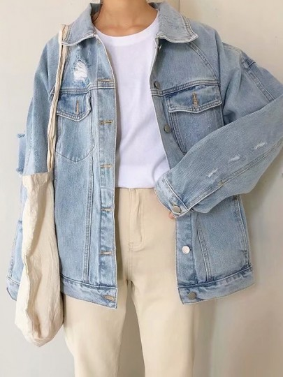 Light Blue Monogram Embroidery Single Breasted Pockets Distressed Jeans Coat