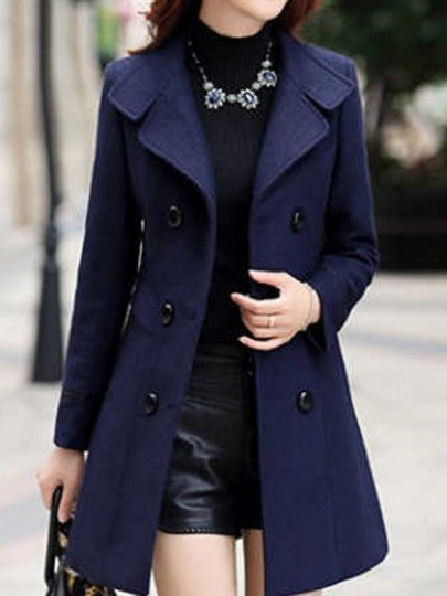 Navy Blue Pockets Buttons Turndown Collar Long Sleeve Elegant Outerwear