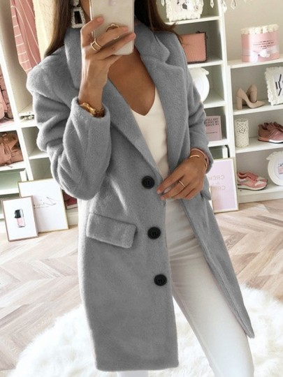 Grey Pockets Buttons Lapel Collar Long Sleeve Mid-length Elegant Wool Coat